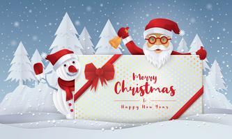 Papai Noel e boneco de neve segurando presente com cartão de feliz Natal