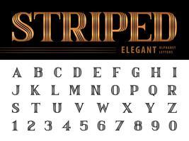 Alfabeto elegante listrado letras e números
