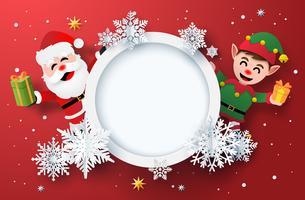 Arte de papel do cartão de férias de inverno com Papai Noel e elfo