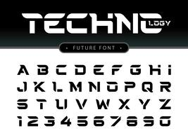 Letras e números do alfabeto techno