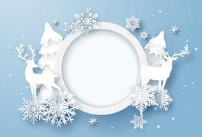 Arte de papel do cartão de férias de inverno com flocos de neve e renas