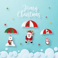 Arte de papel origami de Papai Noel e personagens de Natal em pára-quedas