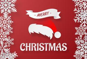 Arte de papel origami do chapéu de Papai Noel com floco de neve em fundo vermelho