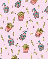 Mão desenhada batatas fritas e ketchup padrão de design vetor