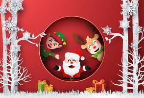 Arte de papel origami de Papai Noel, renas e elfo na floresta com presente de Natal