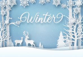 Cartão de inverno em estilo de papel