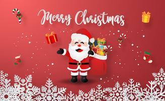 Arte de papel origami do Papai Noel com presentes de Natal