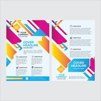 Design de folheto empresarial moderno colorido com lado duplo vetor