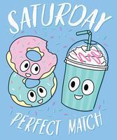 Mão desenhada bonito donut e bebidas ilustração vetor