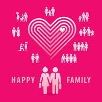 Pessoas com corações, casal apaixonado, conjunto de ícones de família feliz vetor
