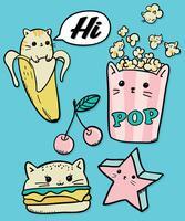 Mão desenhada gato fofo pipoca, hambúrguer, estrela e banana ilustração vetor