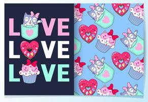 Bolinho de gato bonito mão desenhada e donut com conjunto de padrões vetor
