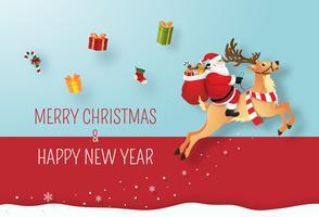 Arte de papel origami de Papai Noel e renas, dando presentes cartão