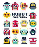 Cabeças de robô bonito mão desenhada vetor