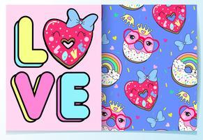Mão desenhada donut bonito na palavra amor com conjunto de padrões vetor
