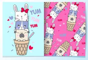 Mão desenhada animais fofos na casquinha de sorvete com conjunto de padrões vetor