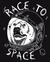 Mão desenhada urso legal com ilustração de capacete espacial vetor