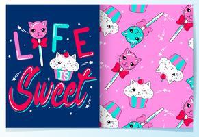 Mão desenhada gato bonito doce e cupcake com conjunto de padrões vetor