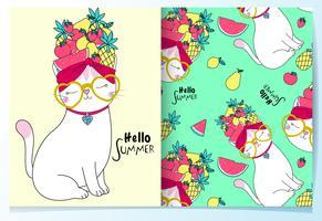 Mão desenhada gato bonito com conjunto de padrão de chapéu de frutas vetor