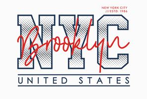 NYC, Brooklyn, tipografia, ilustração vetorial