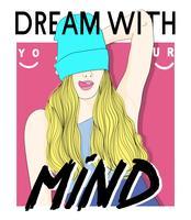 Garota desenhada mão com gorro e sonho com o texto da sua mente vetor