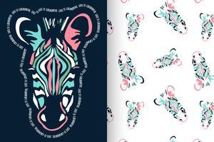 Mão desenhada zebra bonita com conjunto padrão