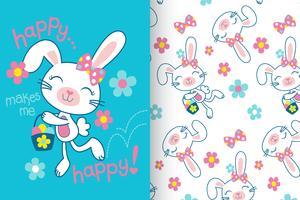 Feliz me faz feliz mão desenhada coelho padrão vetor