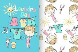 Lavanderia Dau Cute Girl Pattern Set vetor