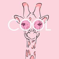 Girafa bonitinho desenhada de mão vetor