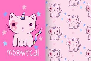 Gatinho de unicórnio rosa mão desenhada gatinho com conjunto de padrões vetor