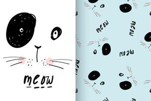 Bigodes de miau mão desenhada gato com conjunto de padrões vetor
