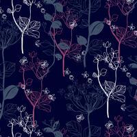 Mão desenhada padrão floral folha cinza e fúcsia linha delicada branca vetor