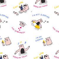 Padrão de urso natação mão desenhada dos desenhos animados vetor
