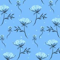 Padrão de cachos de flores pequenas mão desenhada vetor