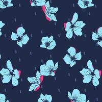 Mão desenhada bold (realce) padrão de flor papoula vetor