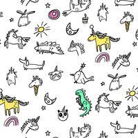 Padrão de animais de festa mão desenhada linha dos desenhos animados vetor
