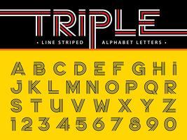 Alfabeto de linha tripla letras e números