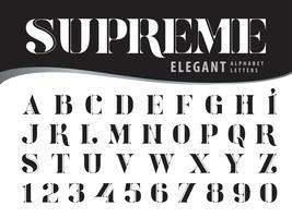 Alfabeto elegante supremo Letras e números