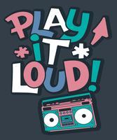 Rádio desenhada à mão com ilustração de texto Play it Loud vetor