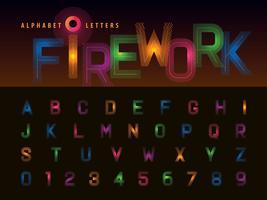 Letras e números do alfabeto de fogo de artifício vetor