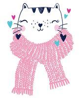 Mão desenhada gato bonito com ilustração de cachecol vetor