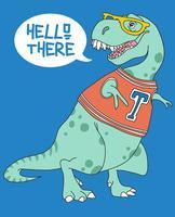 Mão desenhada dinossauro fofo vestindo camisa e óculos ilustração vetor