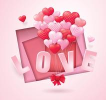 Corações de balão vermelho e rosa voando bando em forma de coração vetor