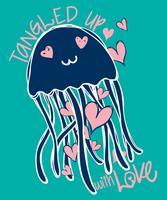 Mão-extraídas ilustração bonito doodle de água-viva vetor