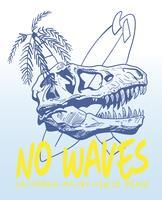 Mão desenhada dinossauro legal com ilustração de prancha de surf vetor