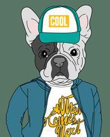 Mão desenhada cachorro legal usando chapéu e camisa com ilustração de texto vetor