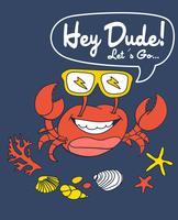 Mão desenhada caranguejo bonito usando ilustração de óculos de sol vetor