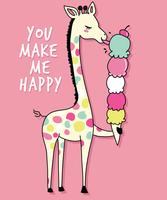 Mão desenhada girafa bonitinha com ilustração de sorvete vetor