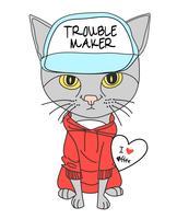 Mão desenhada gato bonito usando ilustração de chapéu e moletom vetor