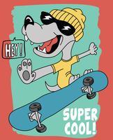 Mão desenhada cachorro fofo na ilustração de skate vetor